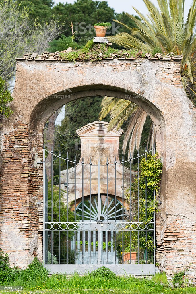 garden gate, Palatine Hill, Rome, Italy stock photo