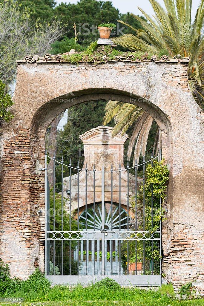 garden gate, Palatine Hill, Rome, Italy stock photo