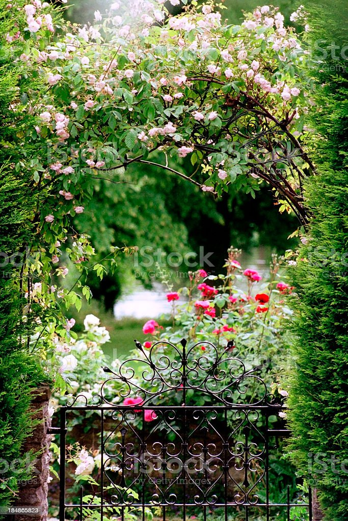 Garden gate stock photo