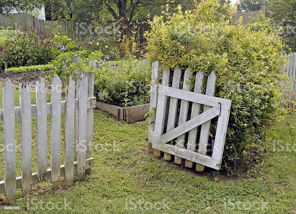 garden gate welcoming visitors royalty-free stock photo