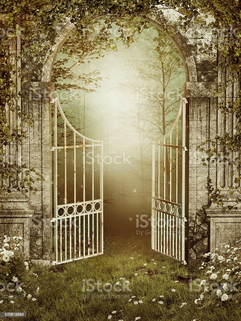 Garden gate with ivy stock photo