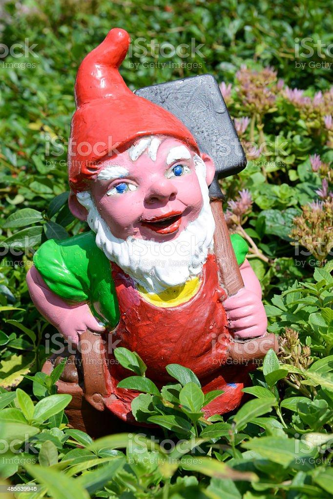 Garden gnome in a garden of a house at Engelberg stock photo