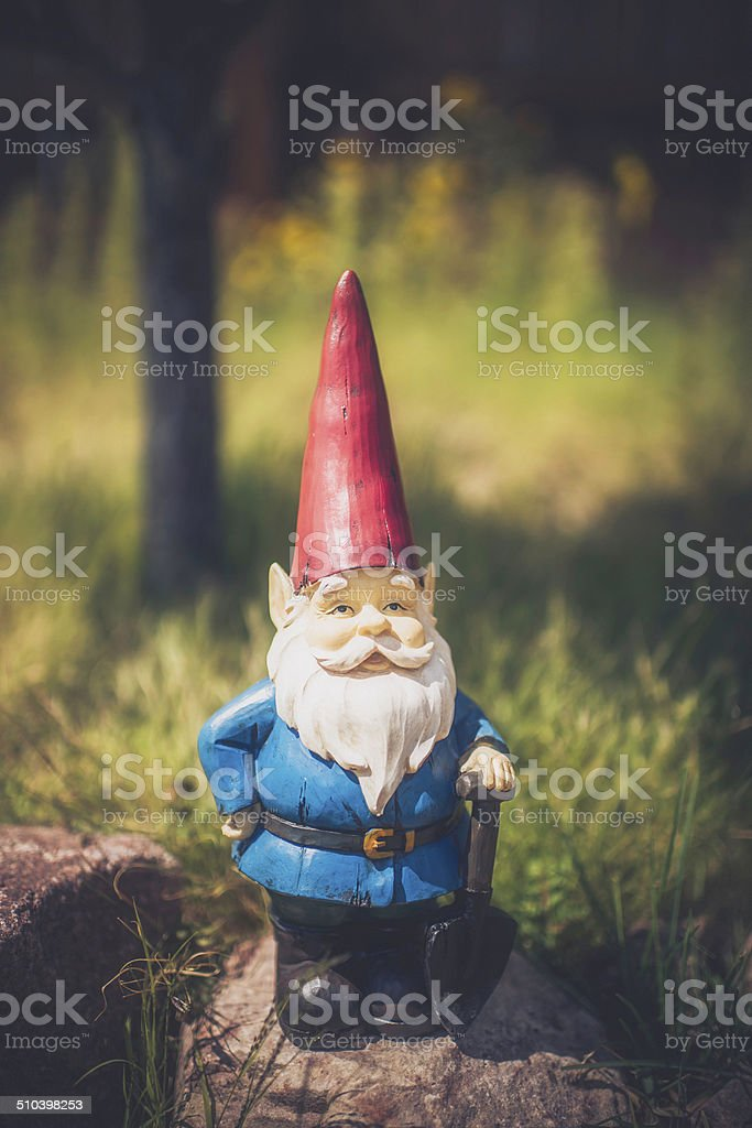 Garden Gnome on Rocks with Tree stock photo