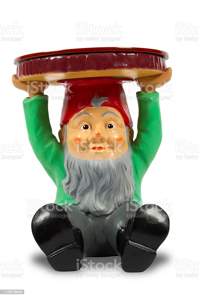 Garden gnome with clipping path stock photo