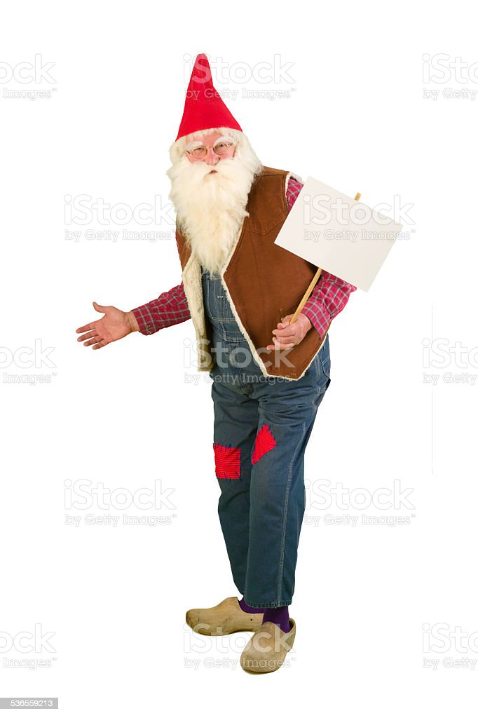 Garden gnome with message stock photo