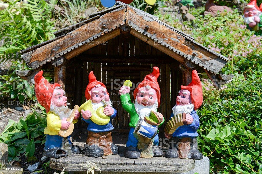 Garden gnomes in a garden of a house at Engelberg stock photo