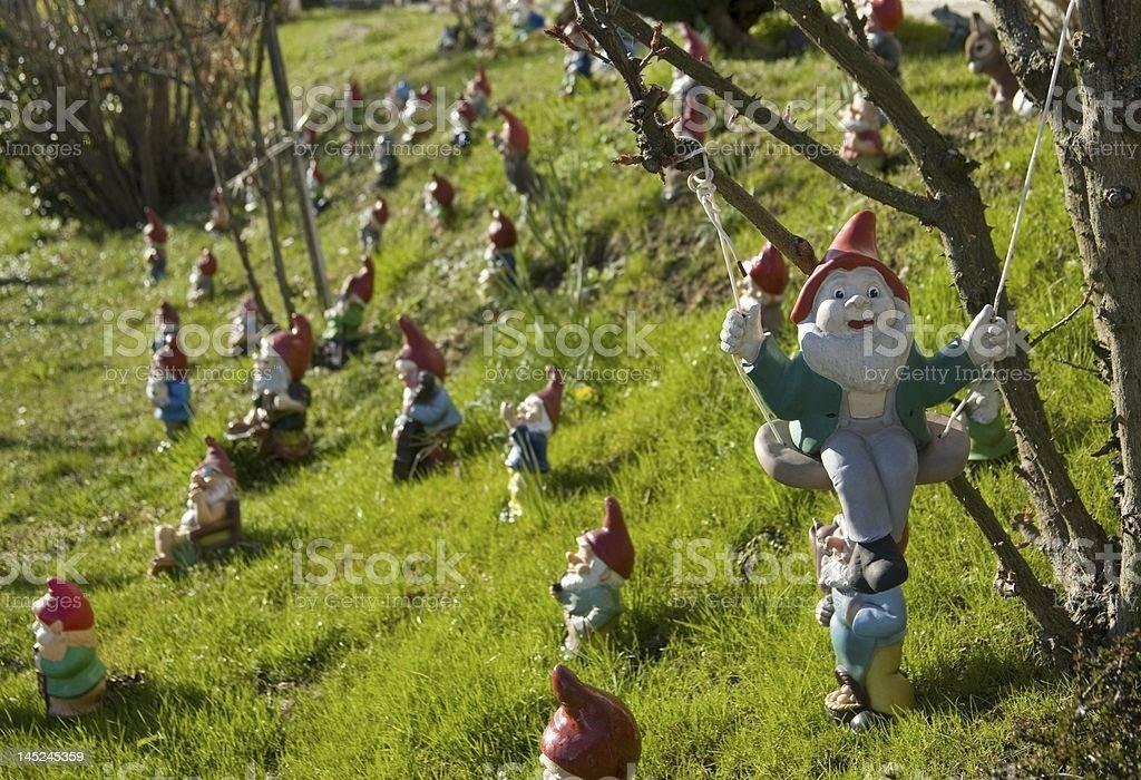 garden gnomes meeting stock photo