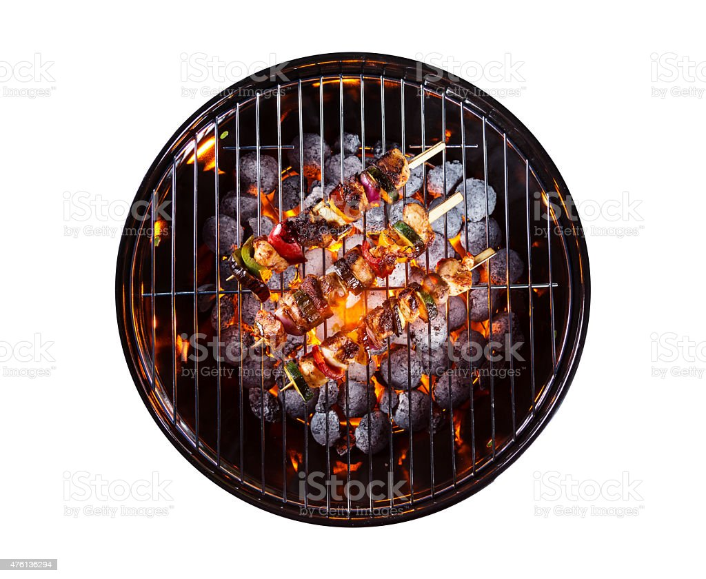 Garden grill isolated on white background stock photo