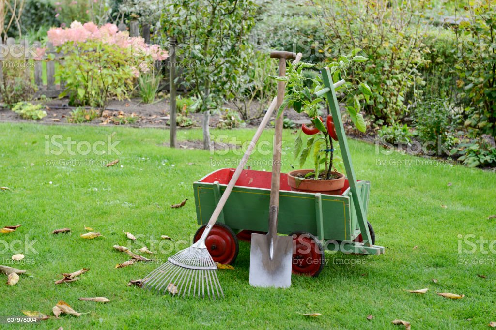 Garden - handcart - Gardening stock photo