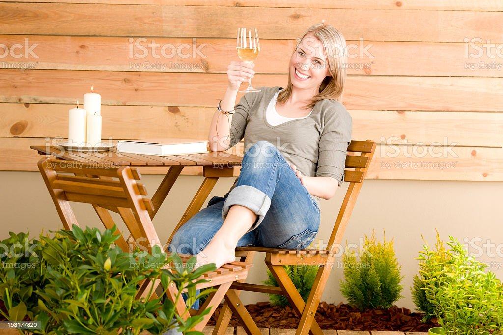 Garden happy woman enjoy glass wine terrace stock photo