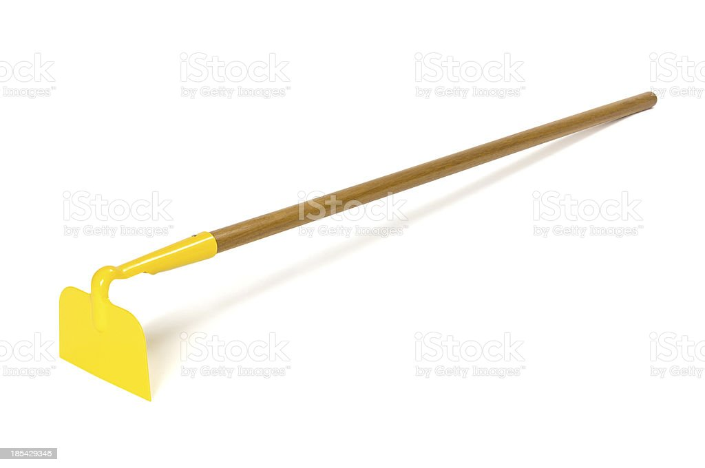 Garden hoe with shadow isolated on white. Clipping path included. stock photo
