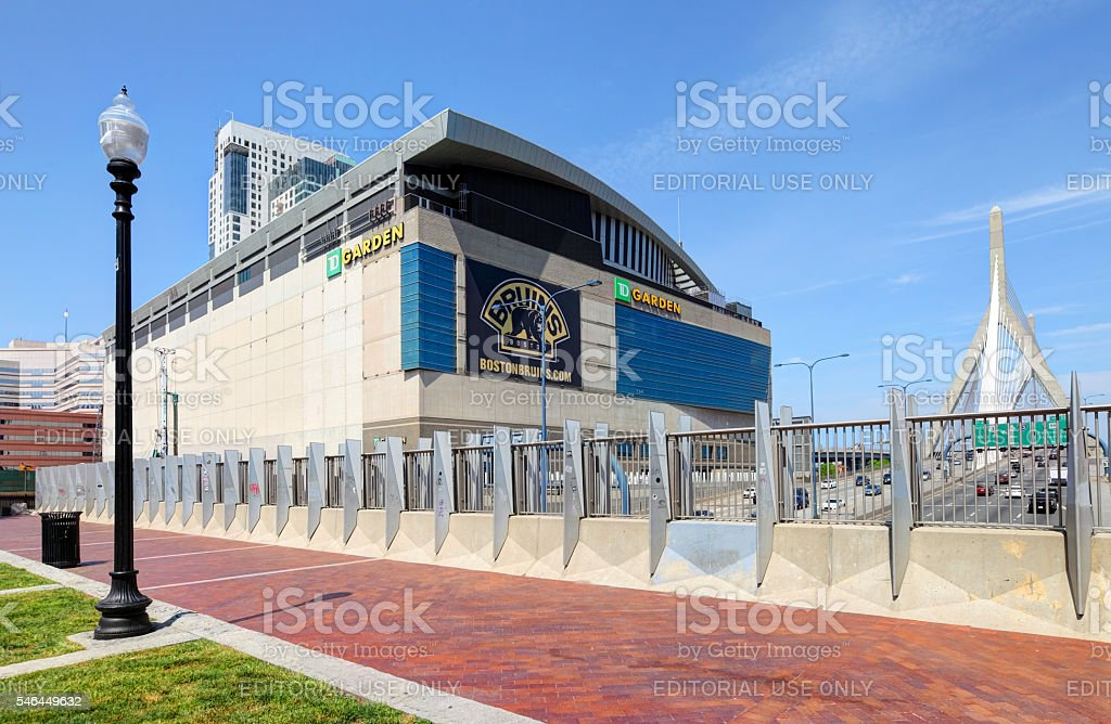 TD Garden home arena for the Boston Bruins and Boston Celtics stock photo