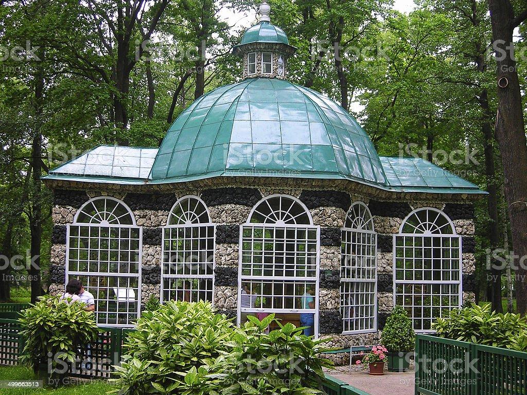 Garden House and Gazebo Peterhof St Petersburg Russia stock photo