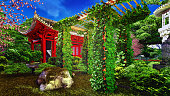garden in chinese style and plants 3d rendering