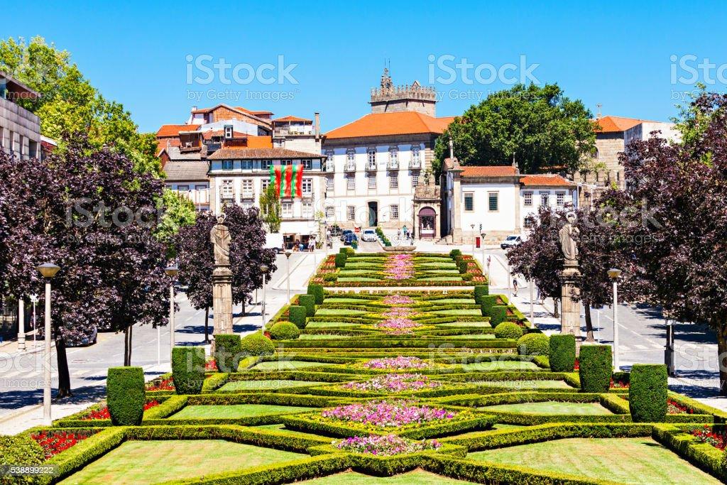 Garden in Guimaraes stock photo