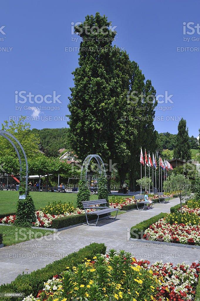Garden in Spiez stock photo