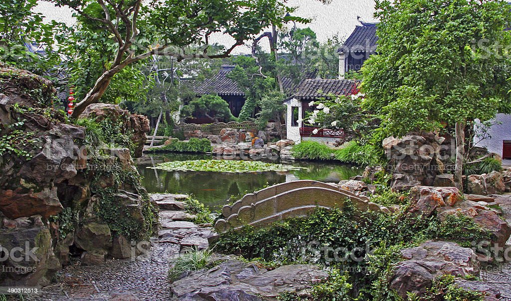 garden in Suzhou near Shanghai, China  oil paint stylization stock photo