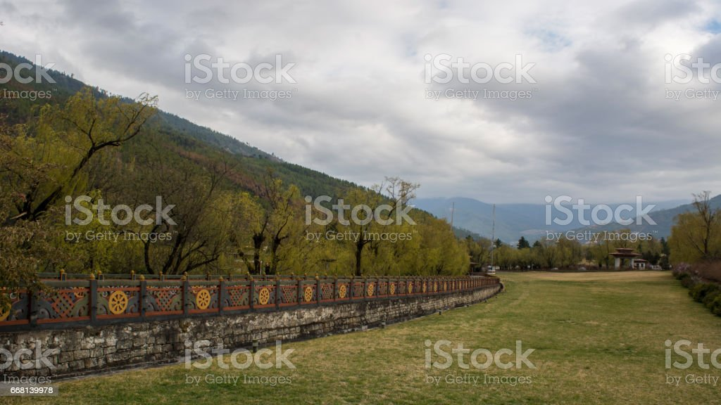 Garden in Tashichho Dzong stock photo