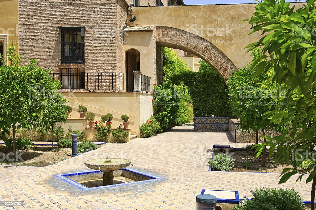 Garden in the Alcazar Palace stock photo