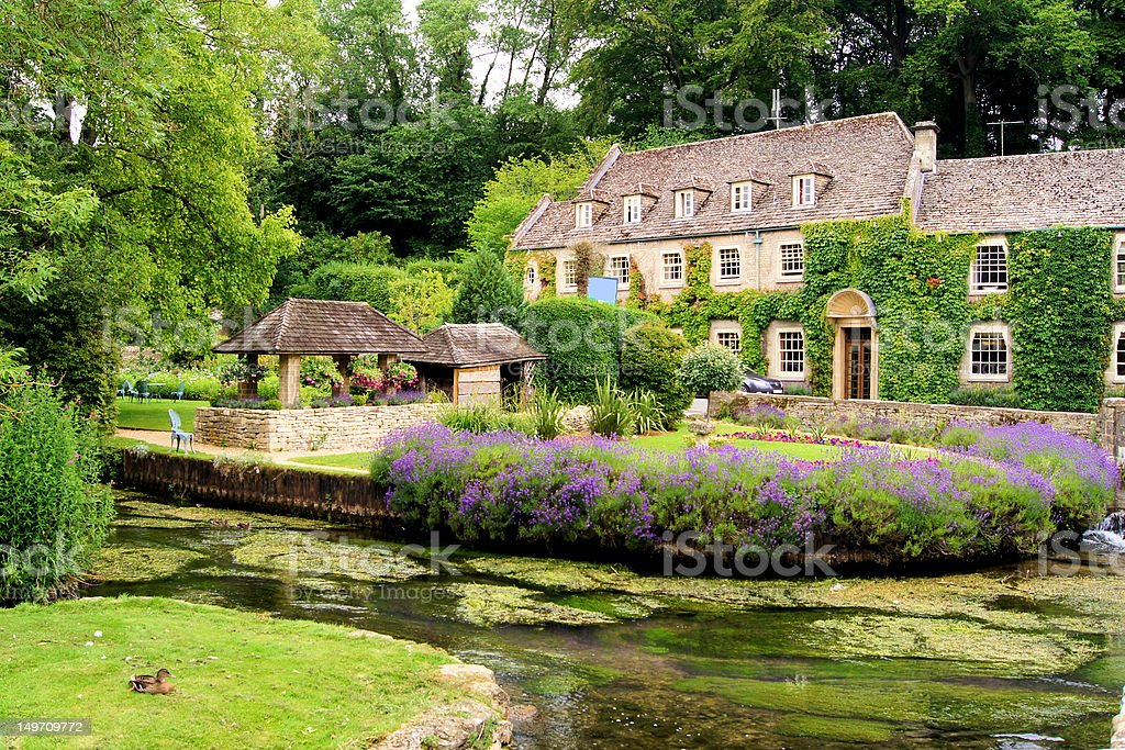 Garden in the English Cotswolds stock photo