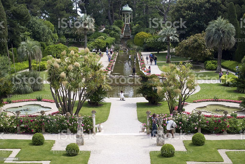 Garden in Villa Ephrussi de Rothschild stock photo