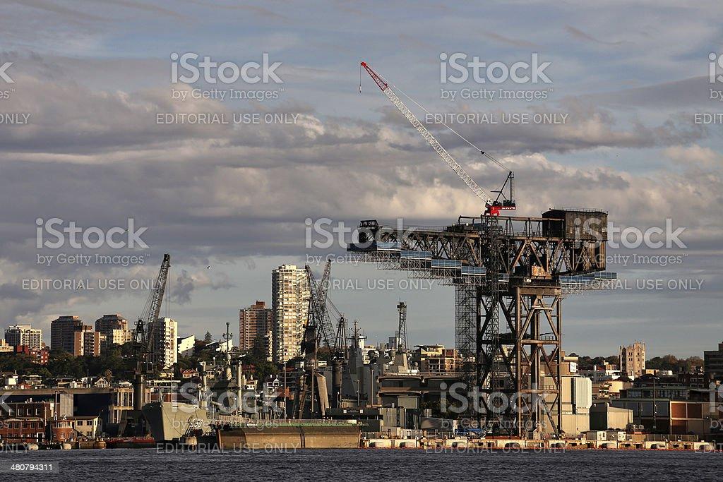 Garden Island naval base hammerhead crane, Sydney stock photo
