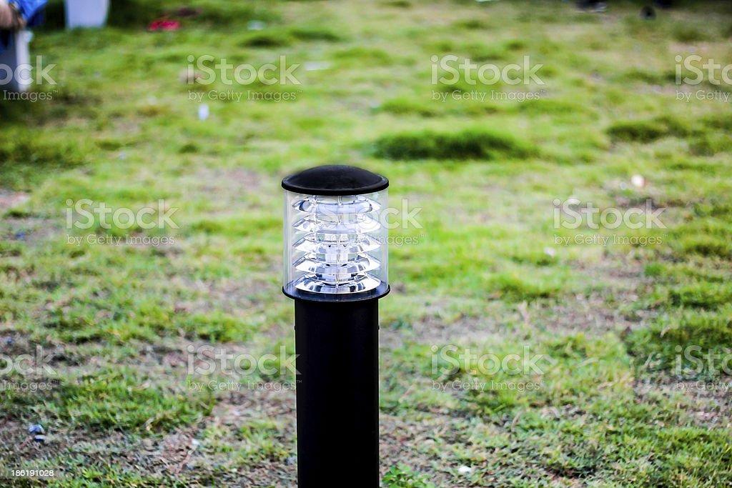 Garden lamp in the morning stock photo