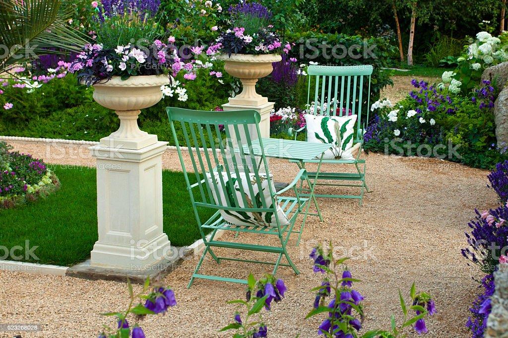 Garden landscape with patio area stock photo