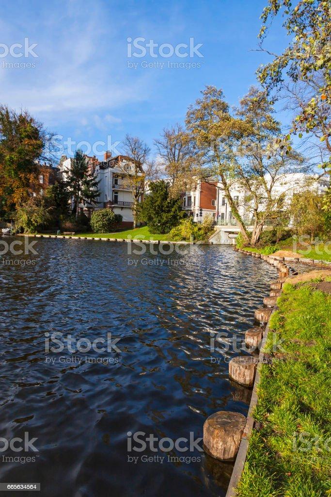 Garden near Muhlenteich in Lubeck, Germany stock photo