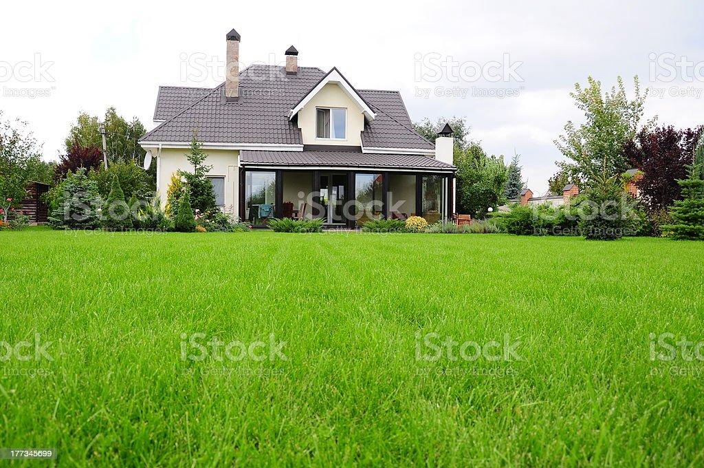 garden of a house stock photo
