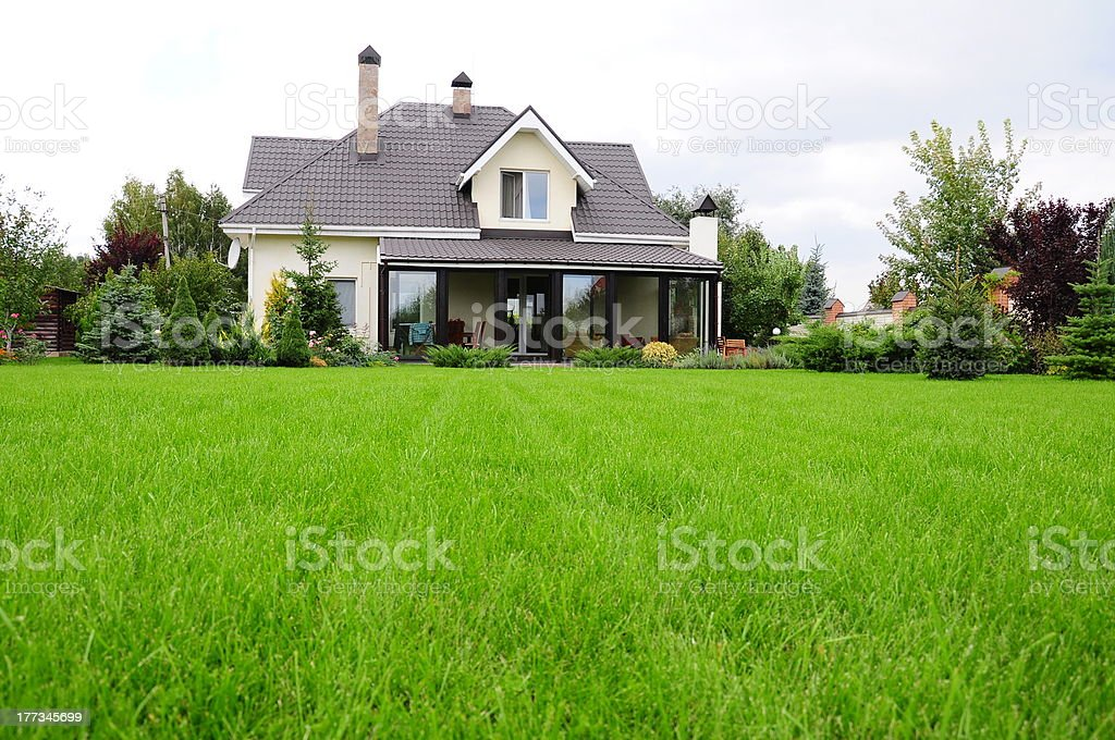 garden of a house stock photo