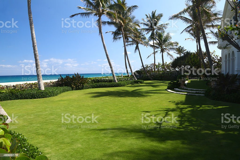 Garden of a luxury mansion with wonderful seaview stock photo