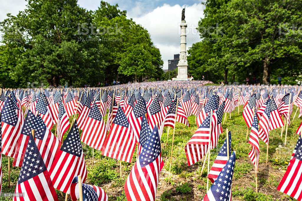 Garden of flags for American memorail day in Boston stock photo