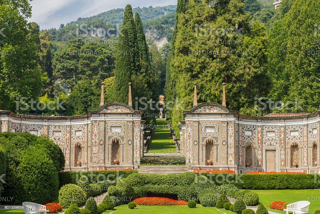Garden of Hotel Villa d´Este at Cernobbio, Lake Como, Italy. stock photo