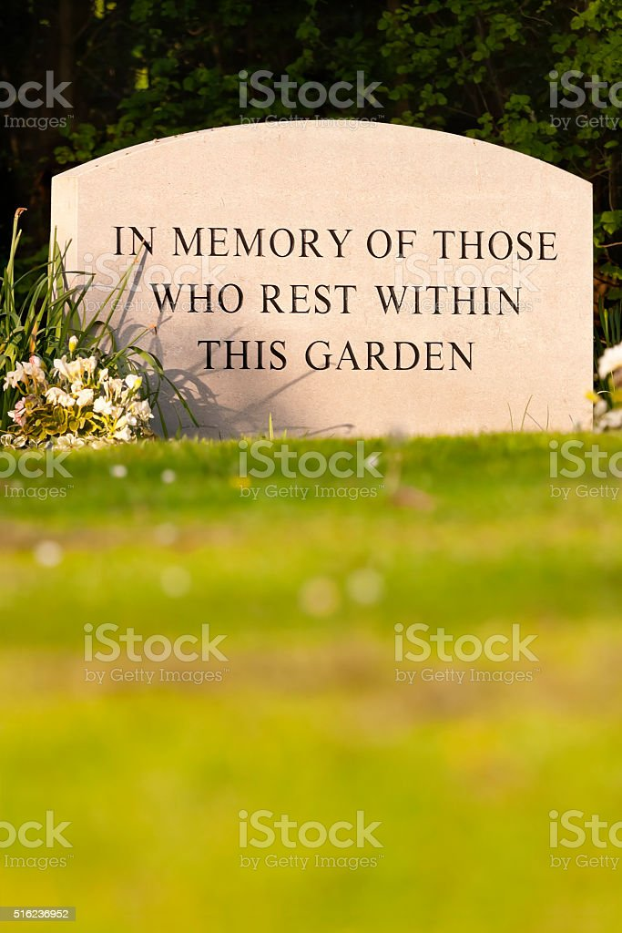 Garden of Rest Memorial Stone stock photo