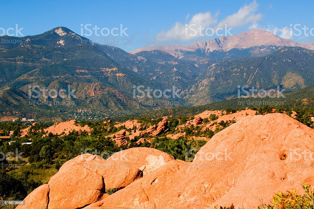Garden of the Gods and Peak stock photo