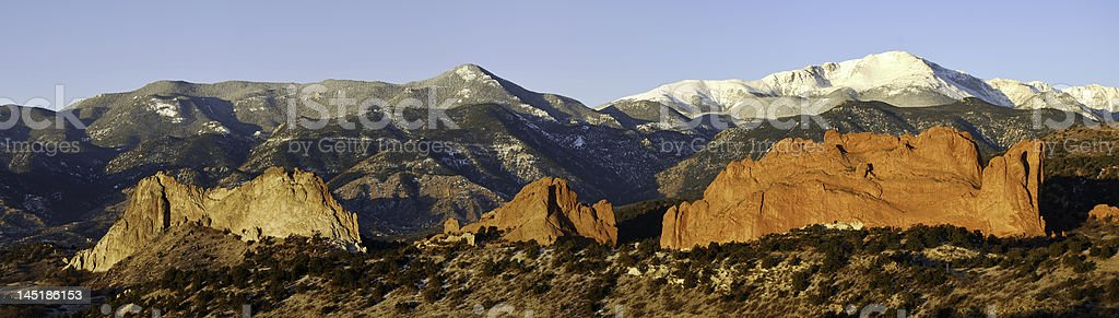 Garden of the Gods and Pikes Peak panorama stock photo