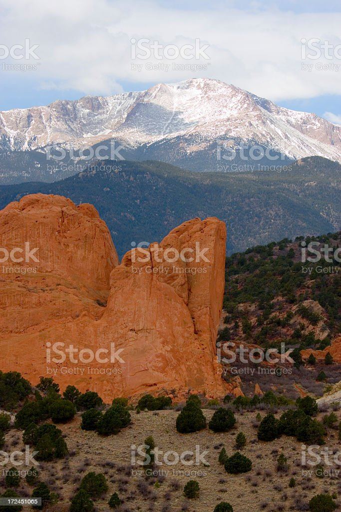 Garden of the Gods and Pikes Peak royalty-free stock photo