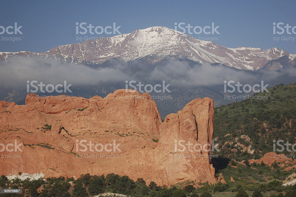 Garden of the Gods and Rockie Mountains stock photo