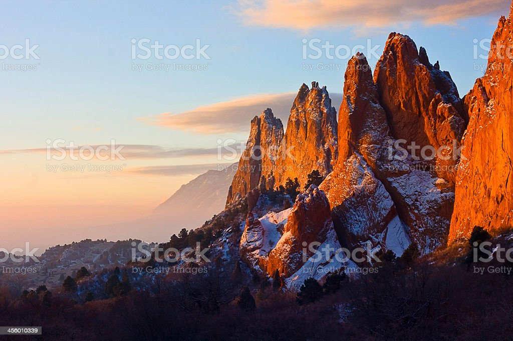 Garden of the Gods and skyline at dusk stock photo