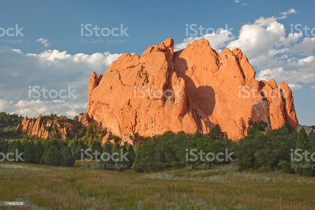 Garden of the Gods in sunset royalty-free stock photo