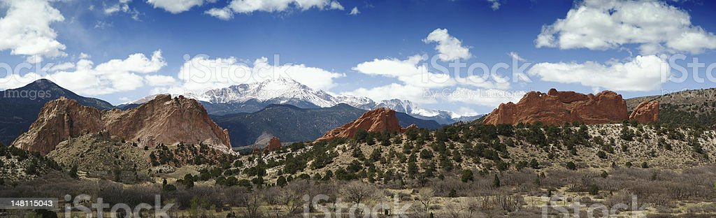 Garden of the Gods Rocks and Mountains stock photo