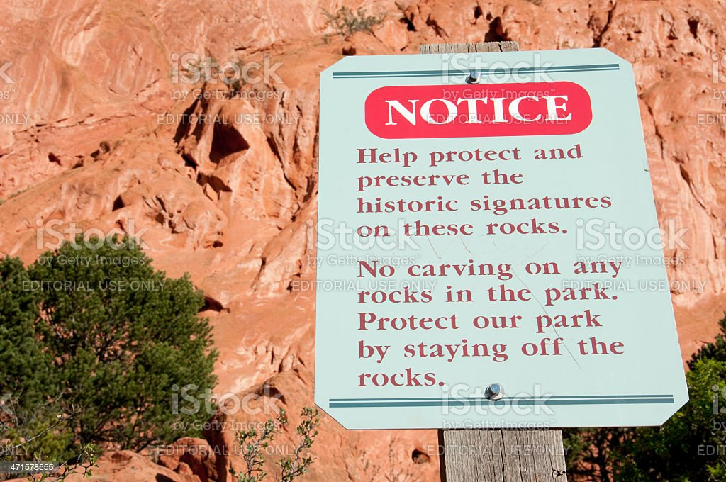 Garden of the Gods Sign royalty-free stock photo