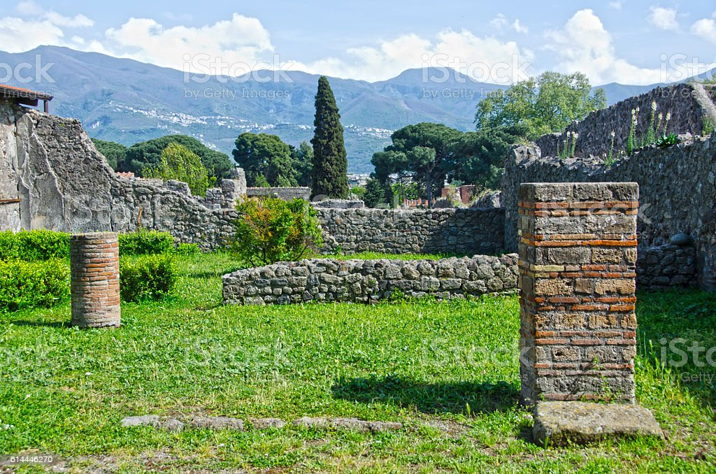 Garden of Wealthy Merchant Home at Pompeii, Italy stock photo