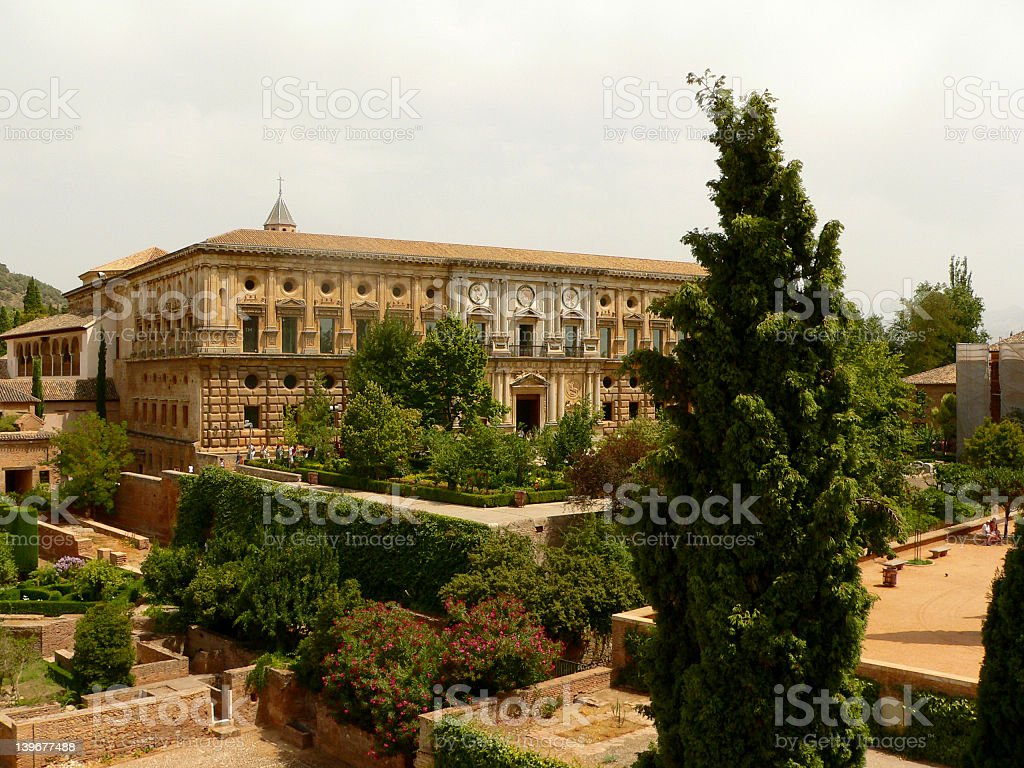Garden on Alhambra stock photo