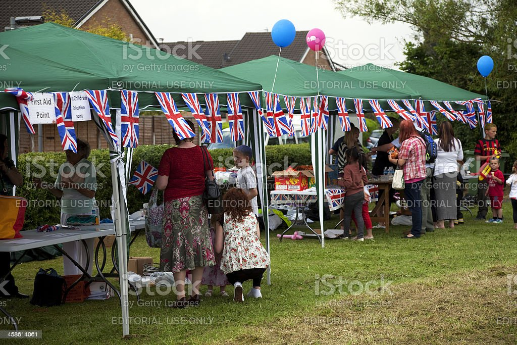 Garden party, gazebos, flags and bunting stock photo