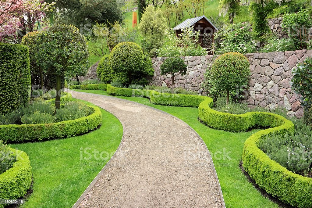 Garden path between buxus hedges stock photo