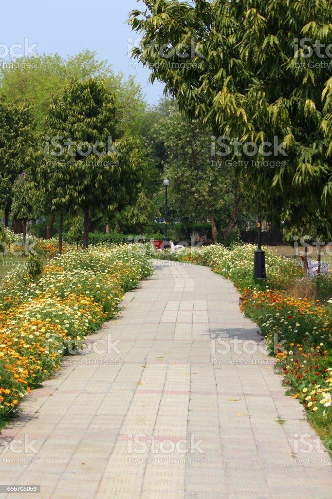 Garden path in Japanese Park, Rohini, New Delhi stock photo
