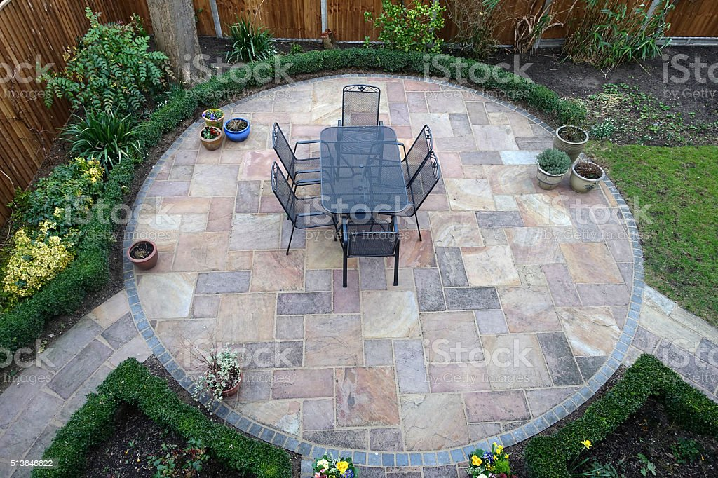 Garden patio stock photo