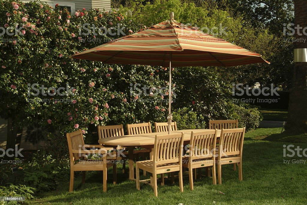 garden patio table with umbrella royalty-free stock photo